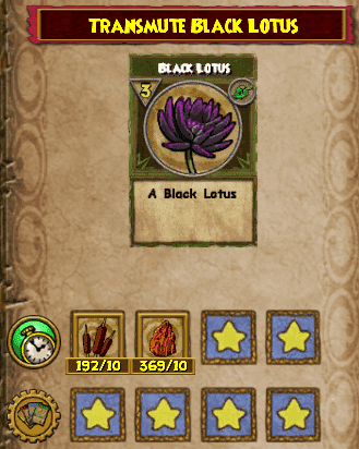 The Black Lotus Transmute Recipe is available from Toshio in Mooshu – Jade Palace. Selling for 300 gold. You will need 10 Cat Tail and 10 Ore.