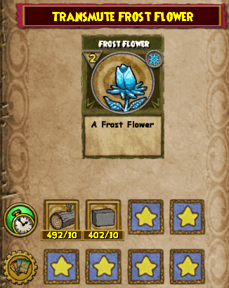 The Frost Flower Transmute Recipe is available from Torald Wayfinder in Grizzleheim – Northguard. Selling for 300 gold. You will need 10 Mist Wood and 10 Stone Block.
